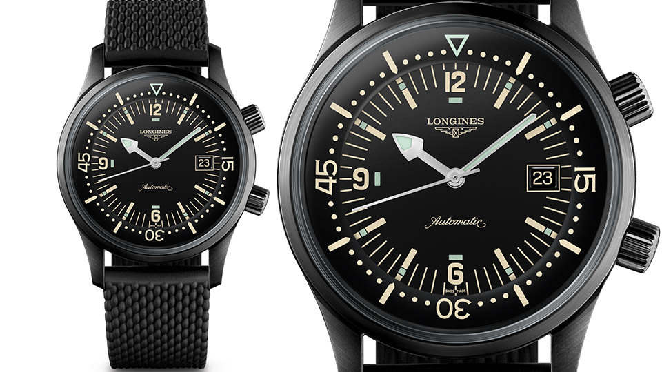 Image result for LONGINES LEGEND DIVER IN BLACK REF. L3.774.2.50.9