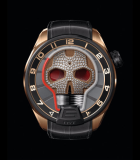 Skull Red Eye Diamonds Black DLC Titanium and Pink Gold