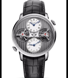 Double Tourbillon Escapement Dual Time White Gold