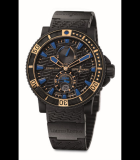 Marine Diver Black Sea Black Rubber-Coated Steel and Rose Gold