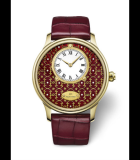 Petite Heure Minute Circled Burgundy Paillonnee Enamel Only Watch 2015 Yellow Gold